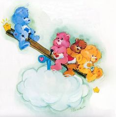 "Care Bears: Grumpy, Love-a-Lot, Tenderheart & Funshine Bear on a See-Saw ~ There's a larger, sharper version of this image on my ""Toys: Care Bears"" board!"
