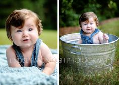 Idea for garden posing - baby in a bucket/flower pot. Think Olive would look dead cute in a flower pot with a flower on her head!
