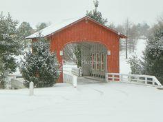 The Snow an Covered Bridge of Goshen, Arkansas by David  Hughes