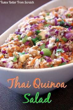 """This is my second """"Thai"""" recipe in a row and I don't even feel bad about it! I recently posted these Thai Chicken Lettuce Wraps, which are really tasty, and I love this crunchy cashew Thai Quinoa Salad so much as well that I just had to share it! Not..."""