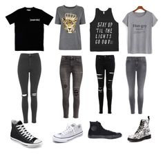 """pt. 1"" by fashionisbae12 on Polyvore featuring Illustrated People, Topshop, Juicy Couture, H&M, Miss Selfridge, J Brand, Converse and Dr. Martens"