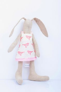 Rabbit stuffed doll Natural beige cloth SMALL by TIMOHANDMADE