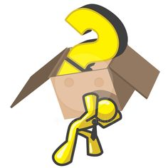 man carrying a box with a large question mark in it.