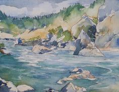 Are you getting enough River Time this summer?  Original watercolor Rogue River rocks and rapids by BlueOtterArt on Etsy.