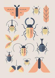 Alessio Sabbadini - Design Crush - Illustration - Alessio Sabbadini's flat graphic style is just my cup of tea. The Milan-based communication desig - Illustration Design Graphique, Illustration Blume, Pattern Illustration, Illustration Styles, Poster Festival, Motifs Animal, Insect Art, Creepy, New Shape