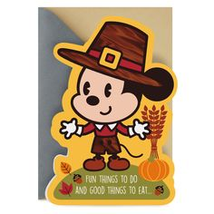 Celebrate the Thanksgiving holiday with this cute greeting. Card features a stylized version of Mickey Mouse in a pilgrim hat with foil accents and die-cut edges. Disney Thanksgiving, Thanksgiving Greeting Cards, Thanksgiving Turkey, Mickey Mouse Dress, Disney Mickey Mouse, Young At Heart, Gold Crown, Pilgrim, Blessing