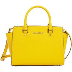 MICHAEL Michael Kors Selma Messenger Bagsdium Top Zip Satchel ($298) ❤ liked on Polyvore featuring bags, handbags, designer handbags, yellow, michael michael kors, purse satchel, man satchel bag, handbags purses and messenger handbag