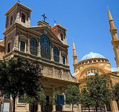 Church adjoining a Mosque downtown Beirut