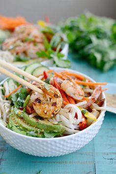 Grilled Shrimp Spring Roll Noodle Bowls l SimplyScratch.com