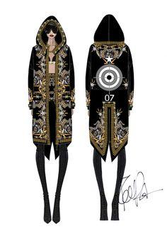 Croquis de Riccardo Tisci pour la réalisation des costumes de scène de Rihanna