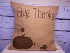 Burlap decorative pillow with pumpkin and Give by LaRaeBoutique, $35.00