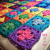 I am crocheting a 2 round granny square every day using 2 colours which represent something little I want to remember, celebrate or be grateful for.