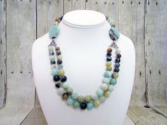 Amazonite Crystal Double Strand Necklace - O34 - by daksdesigns on Etsy