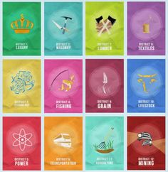 All 12 Districts...for hunger games nails ~~~~ Interesting....~~~~ Veronica