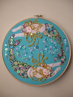 Mermaid Embroidery Hoop Art  ...  my friends little girl would love this one!  She's like a magpie - anything sparkly attracts her.