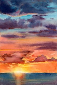 """Sunset i"", watercolour painting, 7.5 x 11"" SOLD I did two sunset demonstrations for my experienced beginner watercolour class this mornin..."