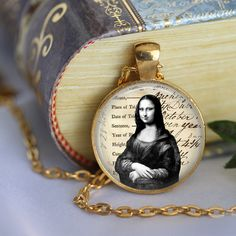 Leonardo Da Vinci MONA LISA Pendant Necklace by LiteraryArtPrints