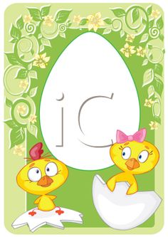 iCLIPART - Royalty Free Clip Art Image of Two Little Easter Chicks Sitting on Eggshells