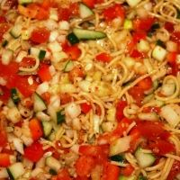 Cold Spaghetti Salad Recipe- add parmesan, bacon, celery, olives