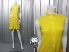 Vintage 60s Bright Yellow Mod Dress 1960s Shift Mini Scooter Dollybird by Tricoville Sleeveless Dress High Neck Space Age Dress Gogo Canary