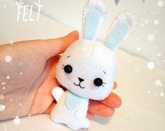 White Bunny felt ornament Easter decor ornaments Easter cute bunny rabbit decorations Easter gift baby bunny felt toy