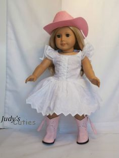 Pink Cowgirl Hat-Eyelet Dress-Pink Boots Doll Clothes fit American Girl Only