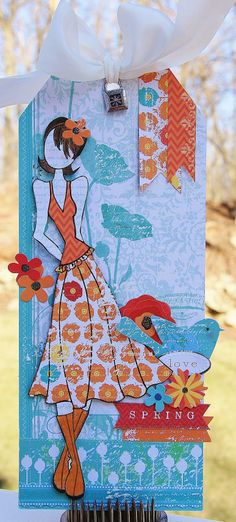 "Julie Nutting's Prima Doll Tag. This cutie is ""Megan"". Papers and embellishments are Little Yellow Bicycle's ""Poppy""."