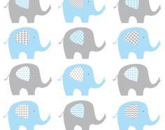 Baby Elephant Clip Art, Blue and Grey Elephant, Baby Boy Elephant Clip Art, Digital Elephant, Chevron Elephant Clipart
