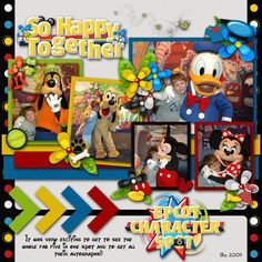 colorful scrapbook layout of the 'Fab Five', by gwalters; Disney; Epcot Character Spot; digiscrap