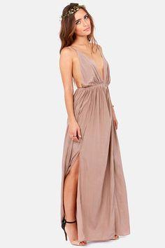 Taupe Dress - Maxi Dress - Backless Dress - $45.00