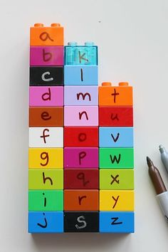 The LEGO Alphabet Hunt is a great rainy day learning activity for your toddler! It is as easy as A,B,C! A: Label your LEGO DUPLO bricks B: Hide them around the house C: Ready, Set, Go! Find all the letters! Preschool Literacy, Preschool Letters, Early Literacy, Literacy Activities, Preschool Activities, Summer Activities, Kindergarten, Learning The Alphabet, Alphabet Activities