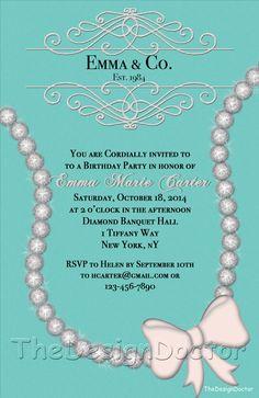 Custom Hand Drawn Diamond Necklace Tiffany and Co. Inspired Birthday Party invitation printable digital file set