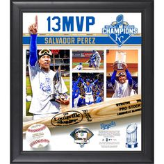 """Salvador Perez Kansas City Royals Fanatics Authentic 2015 MLB World Series MVP Framed 15"""" x 17"""" Collage with a Piece of Game-Used World Series Baseball - $95.99"""