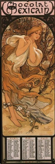 Chocolate calendar (Alphonse Mucha) - Are you calling me Chocolat Mexicaine? Why... thank you!