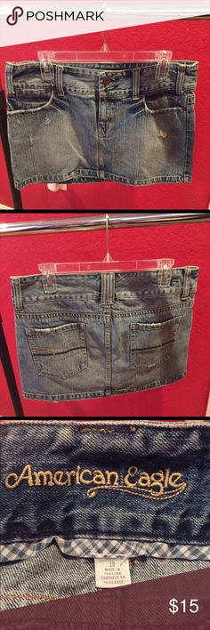"""American Eagle mini jean skirt size 10 American Eagle mini jean skirt, size 10. This runs true to size. It's fairly short, and typically sits right on the hips. Super cute styled just about any way, and a great alternative to shorts. This is in """"like new"""" condition. American Eagle Outfitters Skirts Mini"""