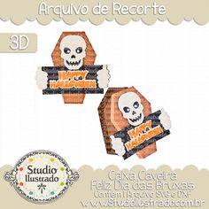 Skull Happy Halloween Box, Caixa Caveira Feliz Dia das Bruxas, Crânio, Esqueleto, Skeleton, Caixão, Túmulo, Coffin, Gift, Presente, Borda, Border, Smash, Bruxa, Abóbora, Witch, Pumpkin, Happy Halloween, Feliz Dia das Bruxas, Doçura ou Travessura, Trick or Treat, Medo, Fear, 3D, Projeto 3D, Caixa, Box, Silhouette, Arquivo de Recorte, DXF, SVG, PNG