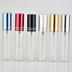 6 Unids/lote 10 ML Portable Botella de Perfume de Cristal de Colores Con Atomizador Envases Cosméticos Vacíos Para Viajes