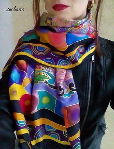 sacharin / Volanie kveteny- hodvábny maľovaný šál