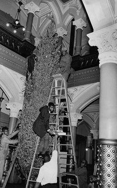 December 1967 - Richmond city workers setting up the city Christmas tree in the lobby of City Hall. Virginia History, Confederate States Of America, Richmond Virginia, Back In The Day, First World, Christmas Trees, Old Photos, Vintage Christmas, Joseph
