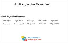 Interested in Hindi Language Learning? This guide was written for Hindi Beginners that don't know where to start learning Hindi language. Adjective Words, Nouns And Pronouns, English Vocabulary Words, English Grammar, English Language, Examples Of Adjectives, Knowledge Quotes, Gernal Knowledge, Alphabet Writing Practice