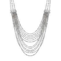 "Italian Sterling Silver Multi-Strand Diamond Cut Bead Necklace, 18"""