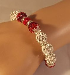 Red Stretch Bracelet by DaisysCrystals on Etsy