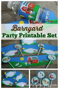 This printable Barnyard Party set is perfect for a farm themed party.  They are easy to use and will make a huge difference for setting the scene at the party.