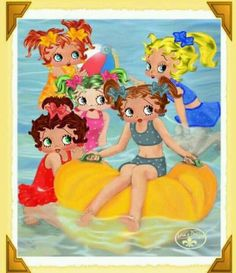 CHILD, BETTY BOOP & FRIEND'A SAY...COME ON DOWN , THE WATER & BEACH ARE FINE.