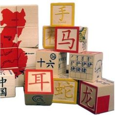 Chinese character wooden blocks by Uncle Goose. They're pricey, but beautiful.