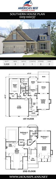Southern home design details an excellent interior. Plan delivers 3 bedrooms, 2 bathrooms, a bonus room, main floor master and laundry, and a 2 car garage. Southern House Plans, Southern Homes, Southern Style, Best House Plans, Car Garage, New Construction, Square Feet, Building A House, Laundry