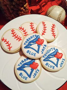 Cookies at a vintage baseball birthday party! Put on top of cupcakes! With blue & white swirl! Baseball Birthday Party, Baby Birthday, Birthday Parties, Birthday Ideas, Holiday Pies, Minion Party, Breakfast For Kids, Cookie Decorating, First Birthdays