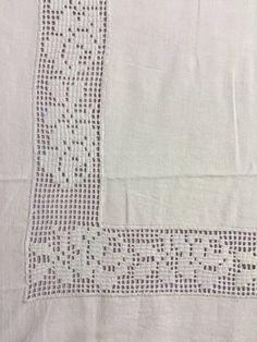 Drawn thread work worked on linen