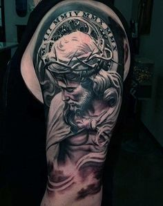 Half Sleeve Tattoos For Guys, Cool Tattoos For Guys, Trendy Tattoos, New Tattoos, Feminine Tattoos, Religious Tattoos For Men, Religious Tattoo Sleeves, Tattoo Sleeve Designs, Tattoo Designs Men