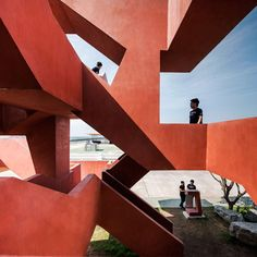 Supermachine Studio adds labyrinthine staircase to seaside park in Thailand